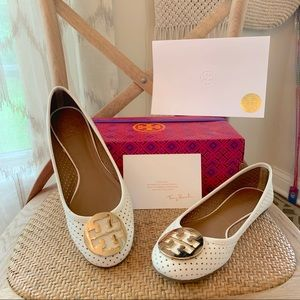 Tory Burch Ivory / Gold Perforated Reva Ballet